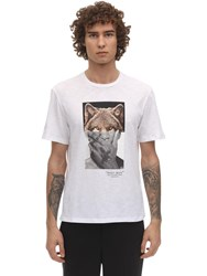 Neil Barrett Wolfman Print Cotton Jersey T Shirt White