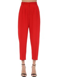 Alexander Mcqueen Cigarette Leaf Pleated Crepe Pants Red