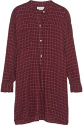 Etoile Isabel Marant Peneloppe Checked Flannel Mini Shirt Dress Burgundy