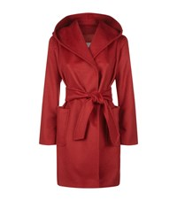 Max Mara Maxmara Hooded Camel Hair Coat Female Red