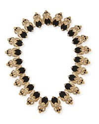 Givenchy Crystal Skull Link Necklace Black Black Gold