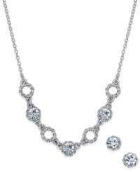 Charter Club Silver Tone Crystal Collar Necklace And Matching Crystal Stud Earrings Set Only At Macy's