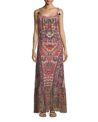 Figue Koko Ikat Print Tie Shoulder Maxi Dress Red