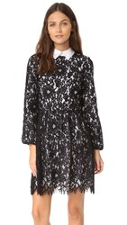 Alice Olivia Terisa Gathered Waist Dress Black White
