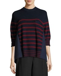 Sacai Striped Crewneck Pullover Sweater Red Pattern