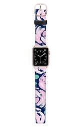 Casetify Pink Peonies Saffiano Faux Leather Apple Watch Strap