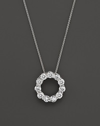 Bloomingdale's Diamond Circle Pendant Necklace In 14K White Gold 2.0 Ct. T.W. White Gold White Diamonds