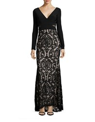 Xscape Evenings Long Sleeve Mesh Gown Black Blush