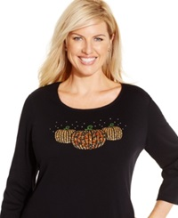 Karen Scott Plus Size Beaded Pumpkin Print Top Only At Macy's Deep Black