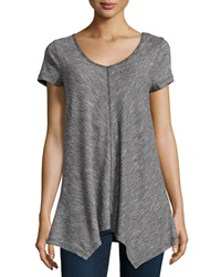 Neiman Marcus Striated Knit Chevron Tee Black Ivory