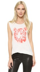 Tess Giberson Tiger Print Shell Top White Orange