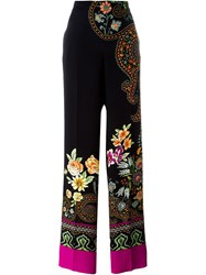 Etro Floral Paisley Straight Trousers Black