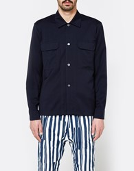 Our Legacy Box Army Shirt Navy Worsted Wool