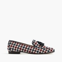 J.Crew Charlie Tassel Loafers In Tweed Ivory Burg Navy
