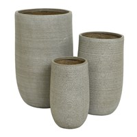 Amara Tall Clay Plant Pot Set Of 3 Taupe