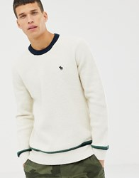 Abercrombie And Fitch Icon Logo Varsity Knit Jumper In White