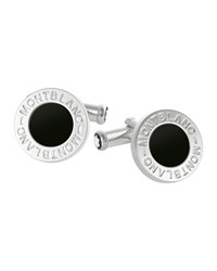 Montblanc Logo Embossed Stainless Steel Round Cufflinks W Onyx Inlay Black