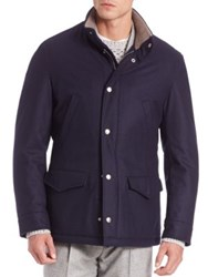 Brunello Cucinelli Thermore Snap Front Hooded Jacket Navy