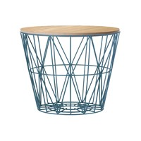 Ferm Living Medium Wire Basket Petrol With Oiled Oak Lid