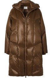 Vince Quilted Shell Down Hooded Coat Brown