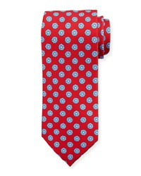 Stefano Ricci Medium Flower Printed Silk Tie Red Blue