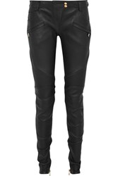 Balmain Ribbed Leather Skinny Pants Black