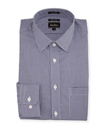 Neiman Marcus Trim Fit Regular Finish Square Dress Shirt Blue