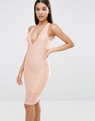 Naanaa Plunge Neck Bodycon Midi Dress In Satin Sheer Stripe Nude Stripe Beige