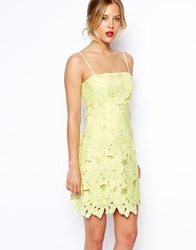 Asos Pencil Dress With Cutwork Lace Crop Yellow