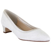 Rainbow Club Demi Extra Wide Fit Block Heeled Court Shoes Ivory Satin