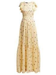 Rochas Pleated Floral Print Silk Georgette Gown Yellow