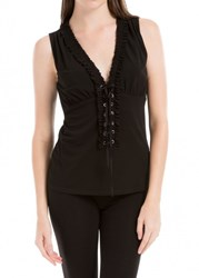 Leon Max Matte Jersey Sleeveless Lace Front Top