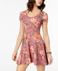 Planet Gold Juniors' Printed Double Scoop Skater Dress Mellow Mauve Combo