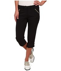 Jamie Sadock Airwear Light Weight 28.5 In. Pedal Pusher Jet Black With Gold Zippers Women's Capri