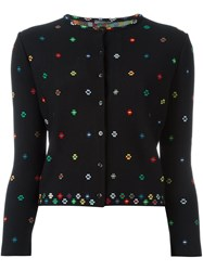 Alexander Mcqueen Floral Cross Stitch Cardigan Black