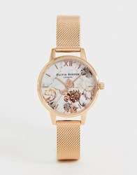 Olivia Burton Ob16cs06 Marble Floral Dial In Rose Gold