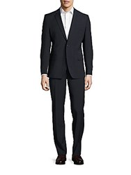 Versace Notch Lapel Suit Navy