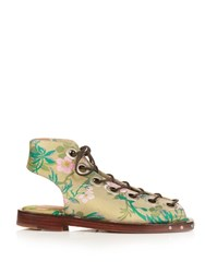 Marques Almeida Lace Up Brocade Flat Sandals Multi