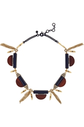 J.Crew Gold Tone Wood And Crystal Necklace
