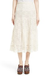 See By Chloe Women's Pleated Lace Midi Skirt Natural White