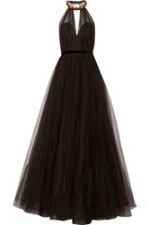 Jenny Packham Embellished Glittered Tulle Gown Black