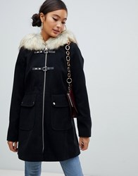 Miss Selfridge Duffle Coat With Faux Fur Trim Hood In Black