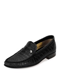 Stefano Ricci Crocodile Leather Classic Loafer Black Men's