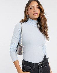 River Island Fine Knit Roll Neck Sweater In Pale Blue