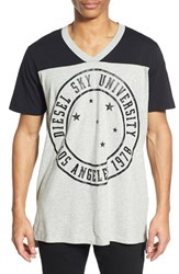 Men's Diesel 'T Markus' Graphic Colorblock V Neck T Shirt