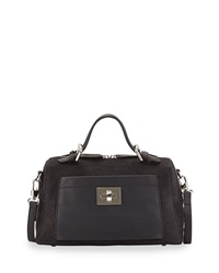 Charles Jourdan Lacy Ii Medium Embossed Suede Satchel Black