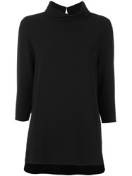 P.A.R.O.S.H. Long Length Roll Neck Top Black