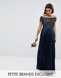 Maya Petite Sequin Top Bardot Maxi Sateen Skirt Dress Navy