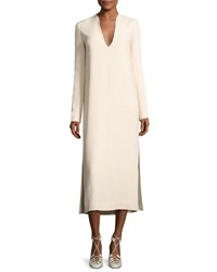 The Row Alice Long Sleeve V Neck Midi Dress Beige