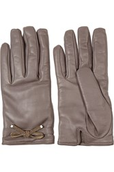 Valentino Bow Embellished Leather Gloves Gray